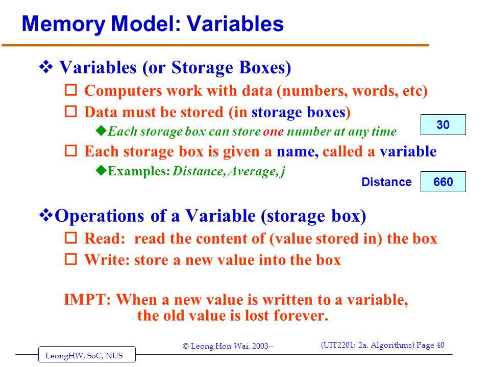 LeongHW, SoC, NUS (UIT2201: 2a. Algorithms) Page 40 © Leong Hon Wai, 2003-- Memory Model: Variables  Variables (or Storage Boxes) oComputers work wit