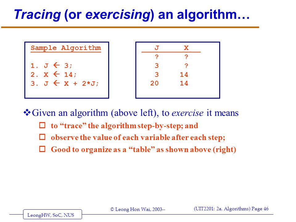 LeongHW, SoC, NUS (UIT2201: 2a. Algorithms) Page 46 © Leong Hon Wai, 2003-- Tracing (or exercising) an algorithm…  Given an algorithm (above left), t
