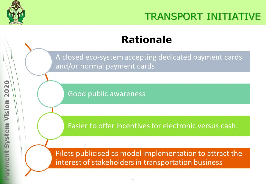 Payment System Vision 2020 TRANSPORT INITIATIVE A closed eco-system accepting dedicated payment cards and/or normal payment cards Good public awareness Easier to offer incentives for electronic versus cash.