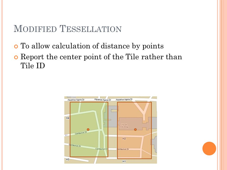 M ODIFIED T ESSELLATION To allow calculation of distance by points Report the center point of the Tile rather than Tile ID
