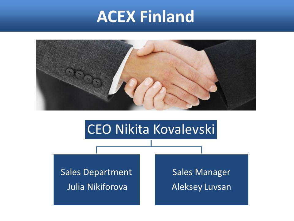 ACEX Finland CEO Nikita Kovalevski Sales Department Julia Nikiforova Sales Manager Aleksey Luvsan