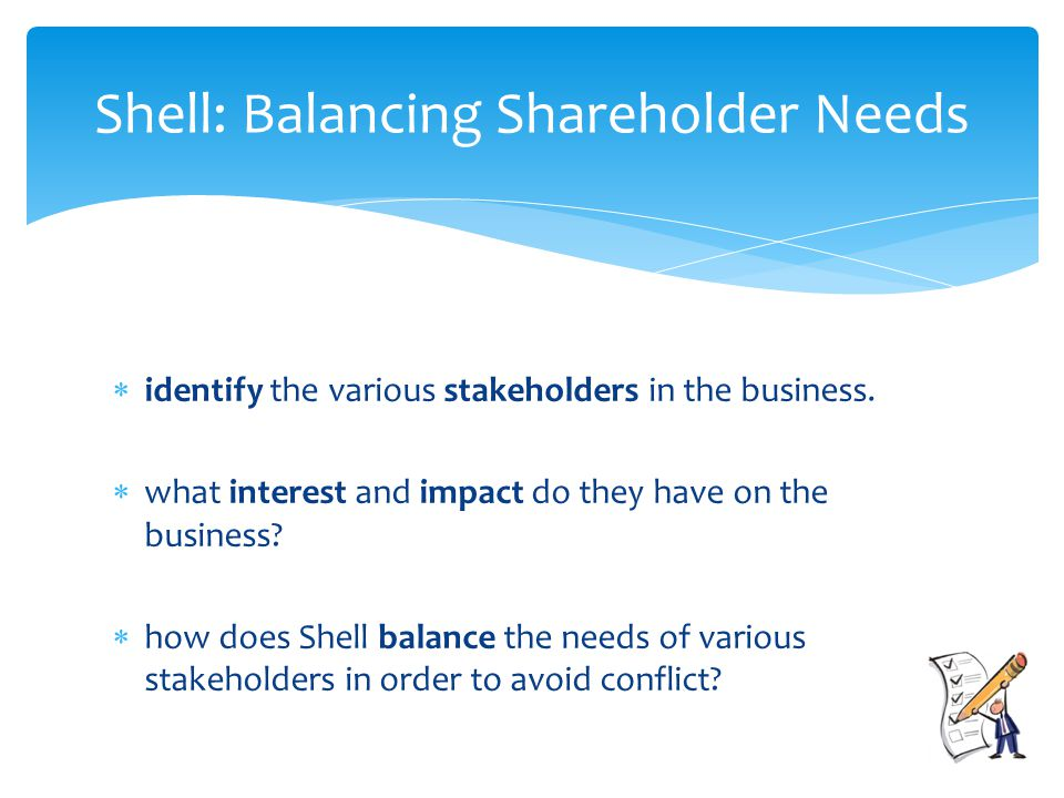  identify the various stakeholders in the business.