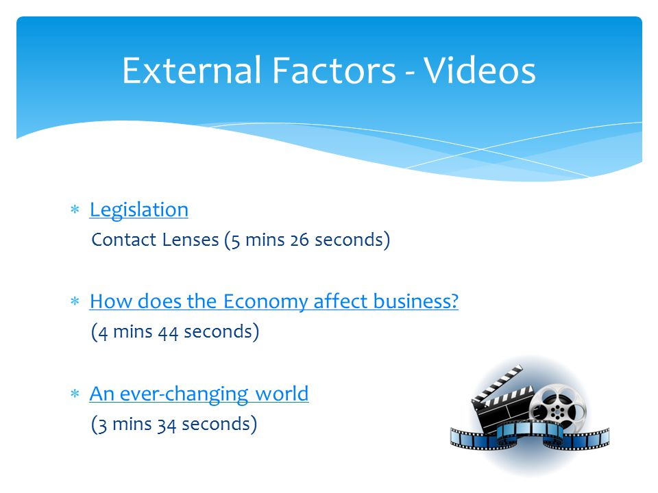  Legislation Legislation Contact Lenses (5 mins 26 seconds)  How does the Economy affect business.