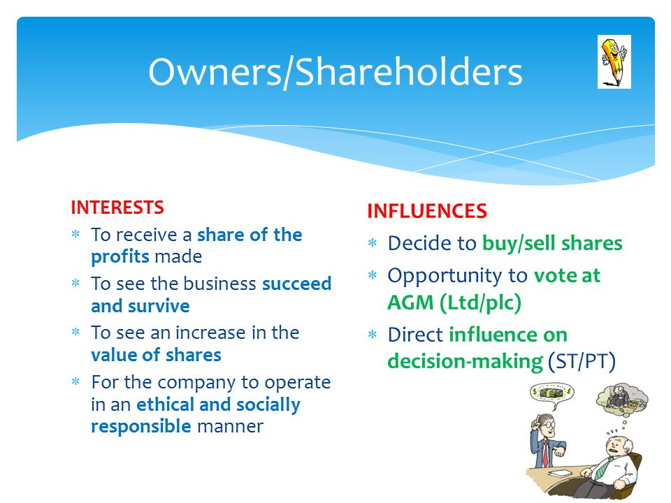 INTERESTS  To receive a share of the profits made  To see the business succeed and survive  To see an increase in the value of shares  For the company to operate in an ethical and socially responsible manner Owners/Shareholders INFLUENCES  Decide to buy/sell shares  Opportunity to vote at AGM (Ltd/plc)  Direct influence on decision-making (ST/PT)