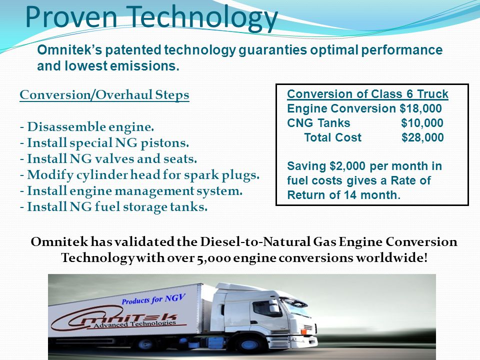 Omnitek's patented technology guaranties optimal performance and lowest emissions. Conversion of Class 6 Truck Engine Conversion $18,000 CNG Tanks $10