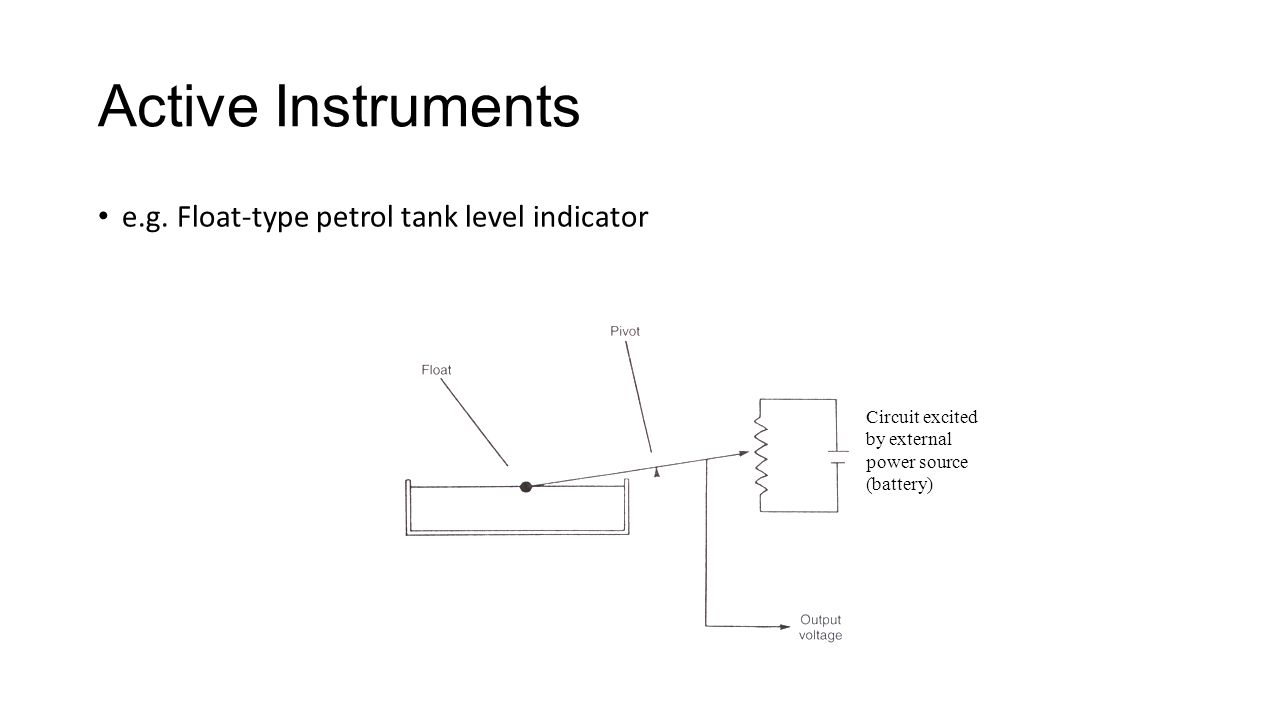 e.g. Float-type petrol tank level indicator Active Instruments Circuit excited by external power source (battery)