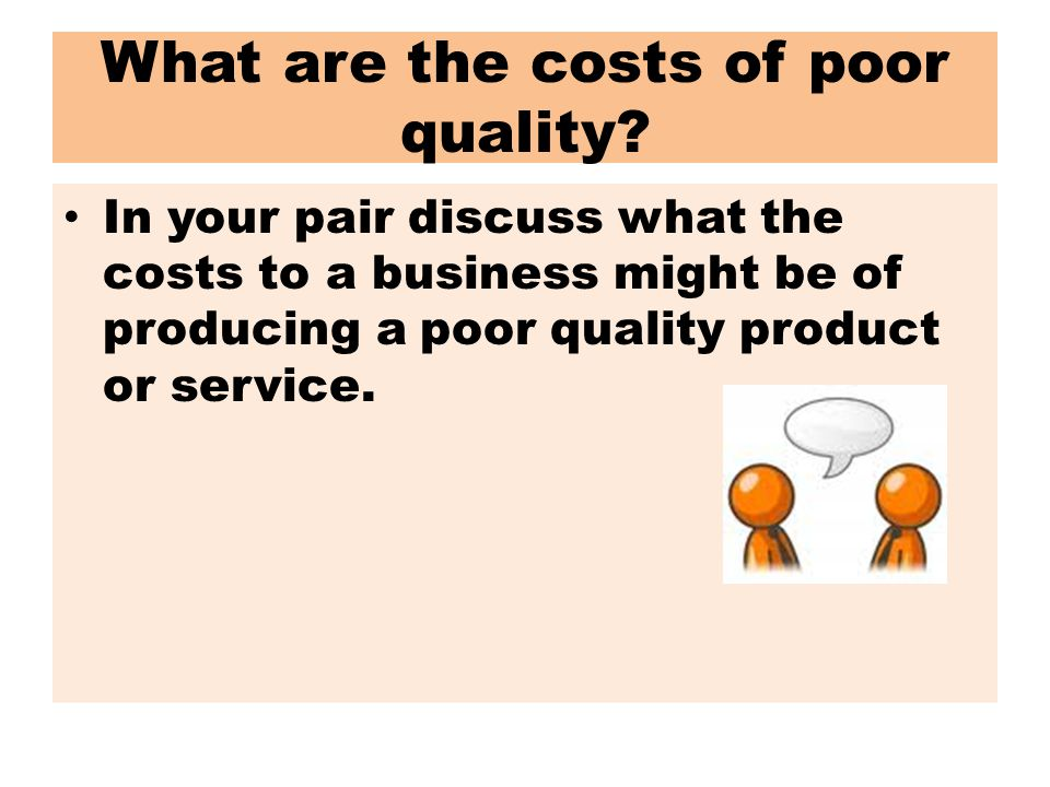 What are the costs of poor quality.