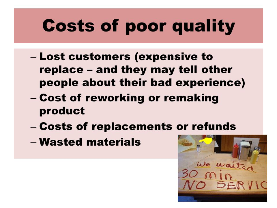 Costs of poor quality – Lost customers (expensive to replace – and they may tell other people about their bad experience) – Cost of reworking or remaking product – Costs of replacements or refunds – Wasted materials