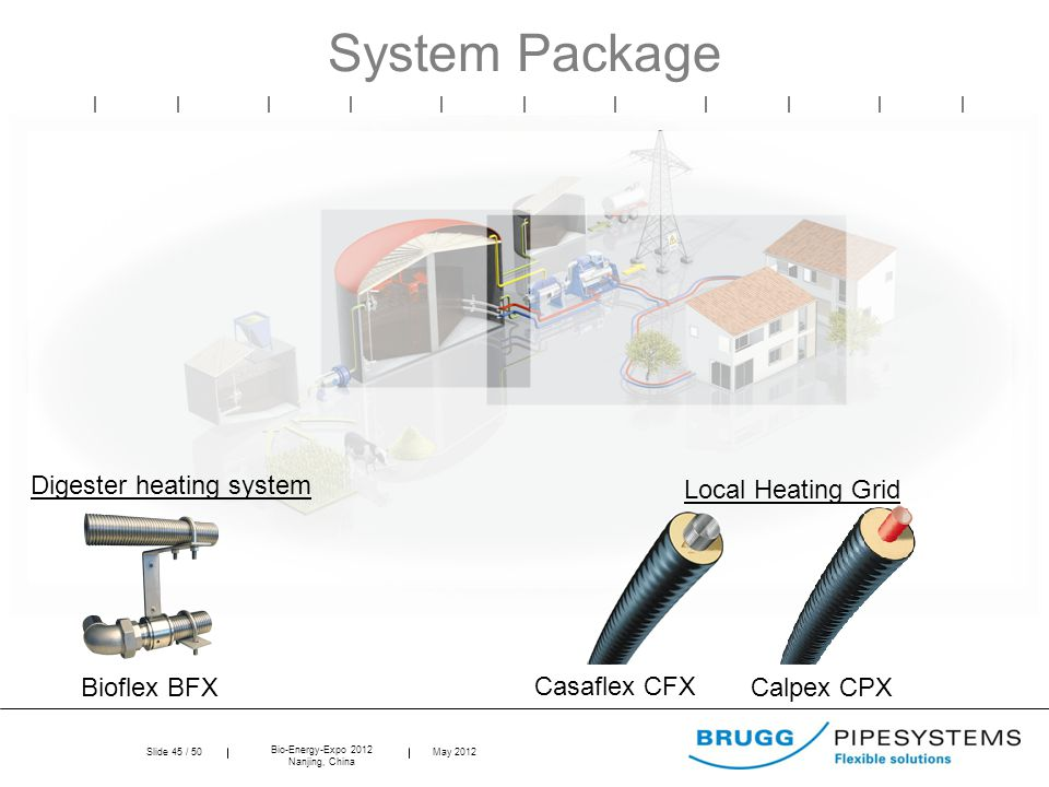 Slide 45 / 50 Bio-Energy-Expo 2012 Nanjing, China May 2012 System Package Local Heating Grid Casaflex CFX Calpex CPX Digester heating system Bioflex BFX
