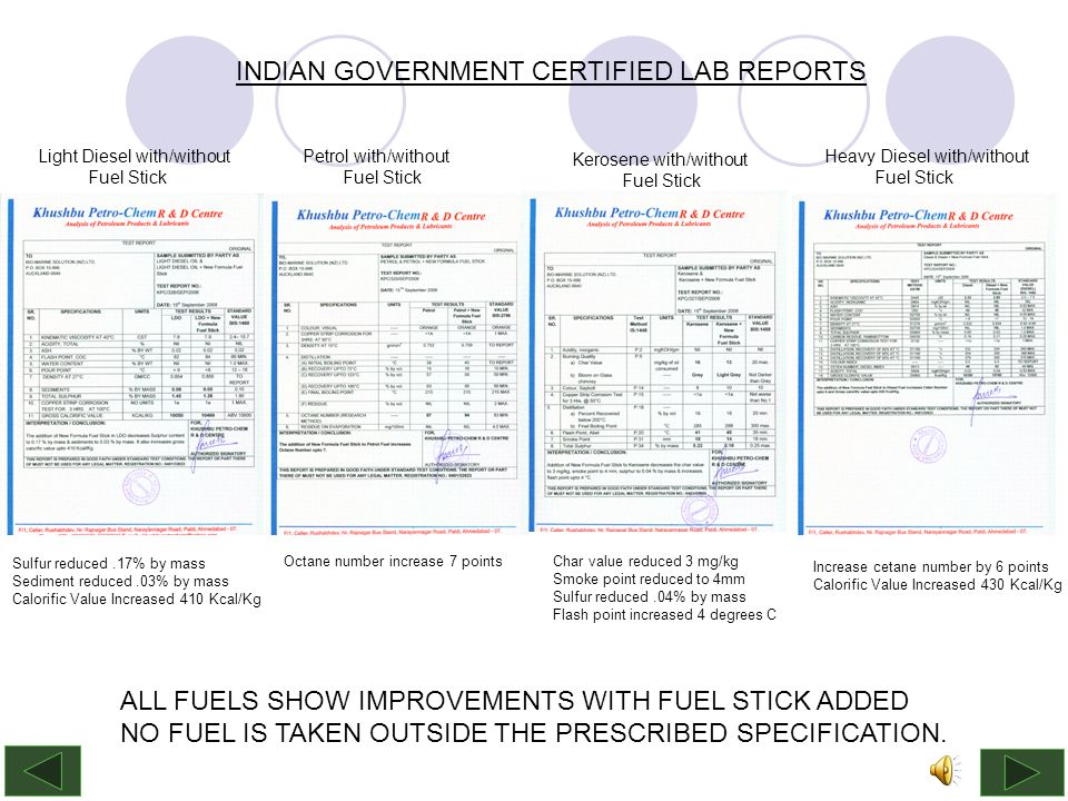 INDIAN GOVERNMENT CERTIFIED LAB REPORTS Light Diesel with/without Fuel Stick Petrol with/without Fuel Stick Kerosene with/without Fuel Stick Heavy Diesel with/without Fuel Stick Sulfur reduced.17% by mass Sediment reduced.03% by mass Calorific Value Increased 410 Kcal/Kg Octane number increase 7 pointsChar value reduced 3 mg/kg Smoke point reduced to 4mm Sulfur reduced.04% by mass Flash point increased 4 degrees C Increase cetane number by 6 points Calorific Value Increased 430 Kcal/Kg ALL FUELS SHOW IMPROVEMENTS WITH FUEL STICK ADDED NO FUEL IS TAKEN OUTSIDE THE PRESCRIBED SPECIFICATION.
