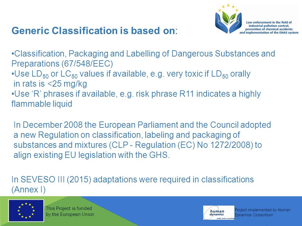 This Project is funded by the European Union Project implemented by Human Dynamics Consortium 11 Generic Classification is based on: Classification, Packaging and Labelling of Dangerous Substances and Preparations (67/548/EEC) Use LD 50 or LC 50 values if available, e.g.