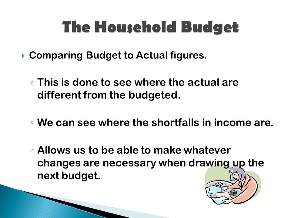  Comparing Budget to Actual figures.