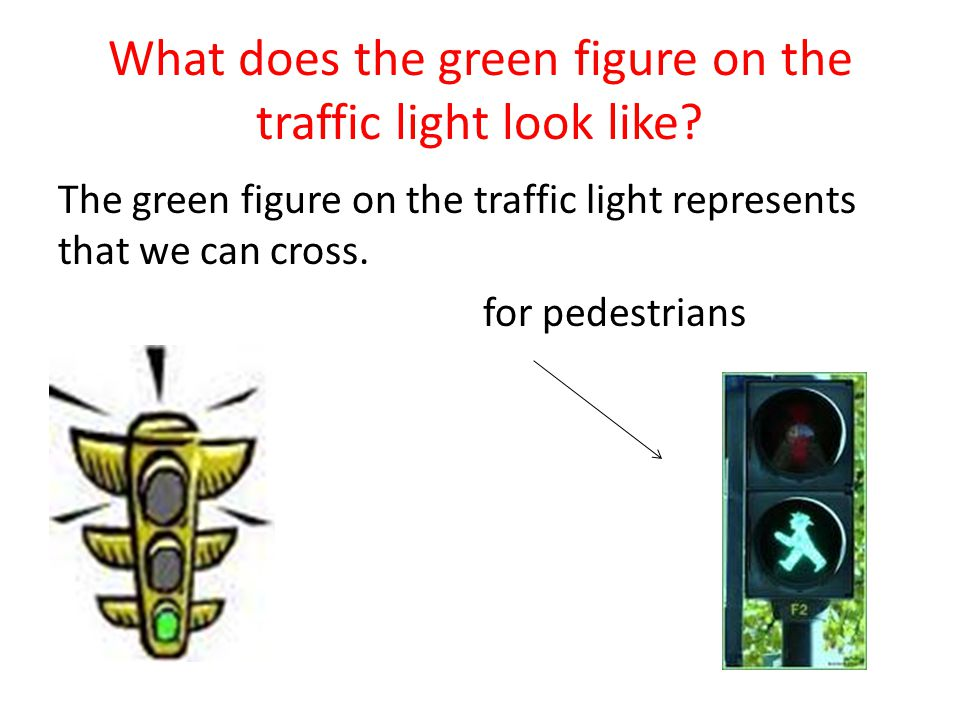 What does the green figure on the traffic light look like.