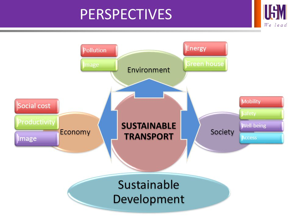 We lead PERSPECTIVES SUSTAINABLE TRANSPORT EnvironmentSociety Sustainable Development Economy Social costProductivityImage MobilitySafetyWell-beingAccess PollutionImage EnergyGreen house