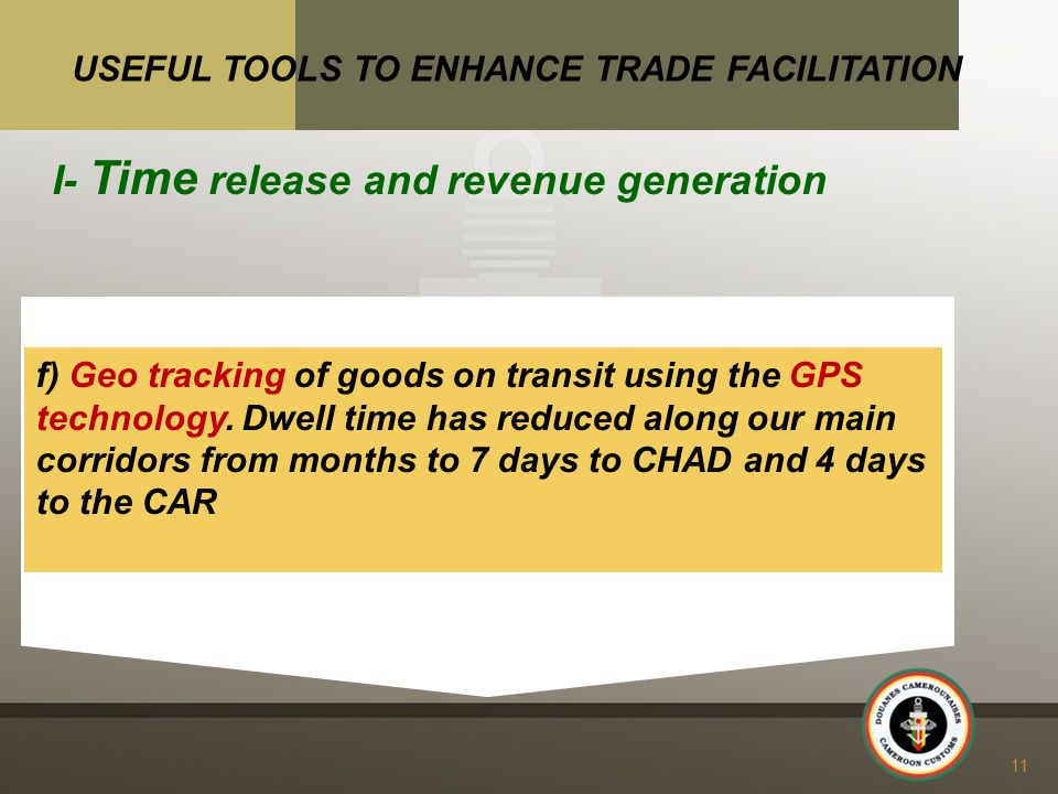 f) Geo tracking of goods on transit using the GPS technology.