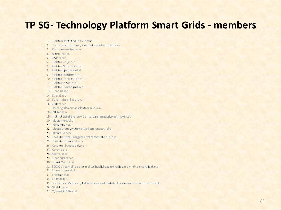 TP SG- Technology Platform Smart Grids - members 27
