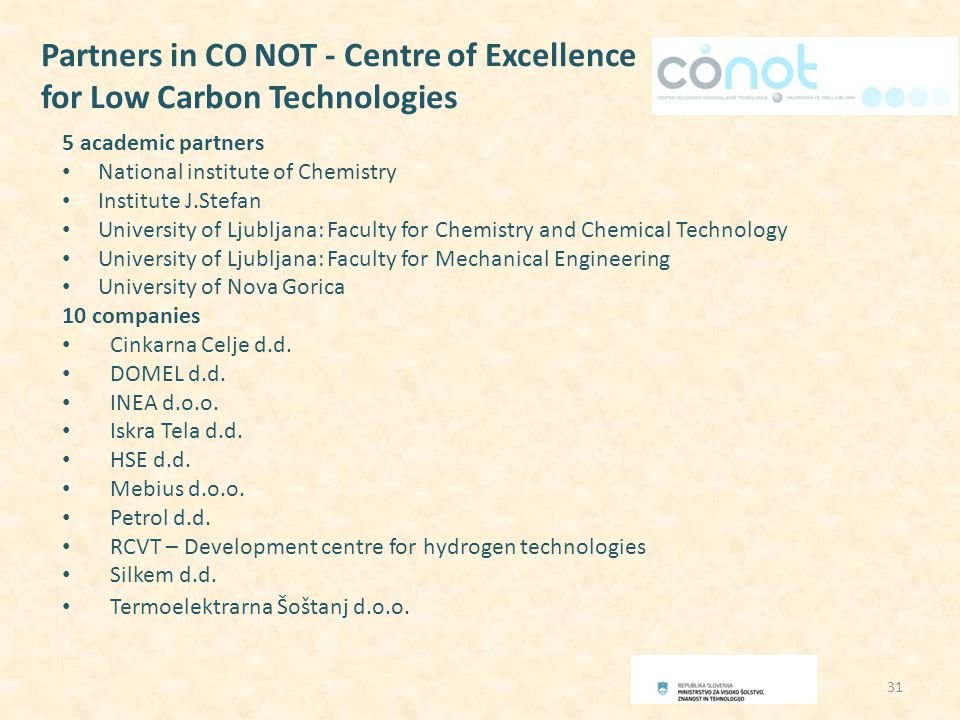 Partners in CO NOT - Centre of Excellence for Low Carbon Technologies 5 academic partners National institute of Chemistry Institute J.Stefan University of Ljubljana: Faculty for Chemistry and Chemical Technology University of Ljubljana: Faculty for Mechanical Engineering University of Nova Gorica 10 companies Cinkarna Celje d.d.