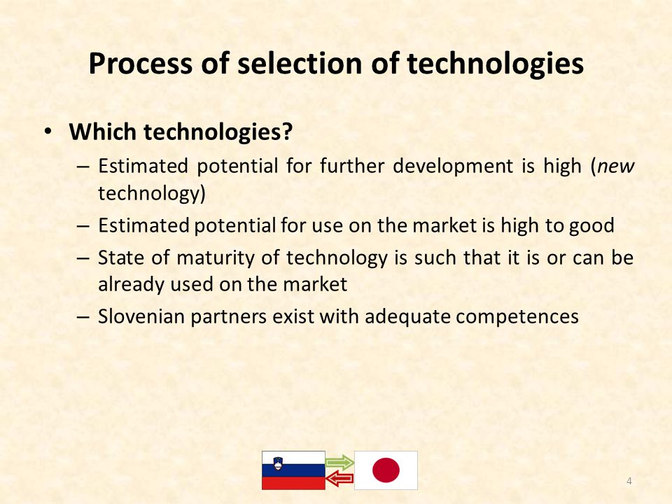 Process of selection of technologies Which technologies.