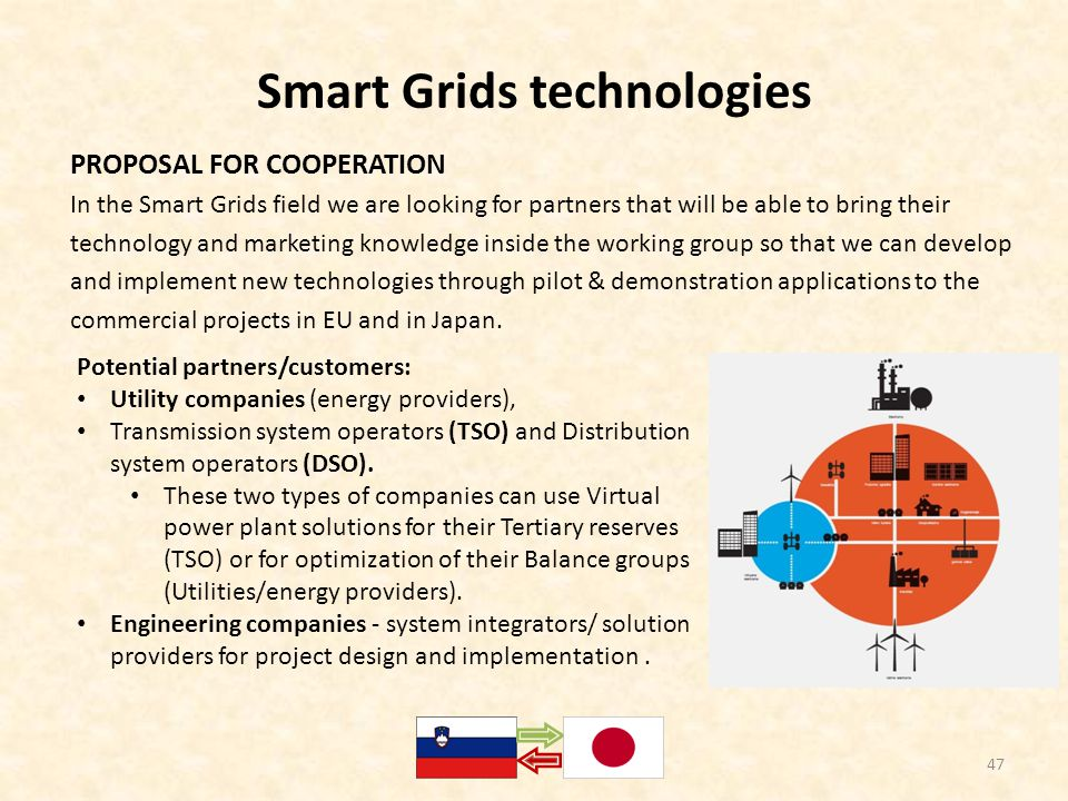 Smart Grids technologies PROPOSAL FOR COOPERATION In the Smart Grids field we are looking for partners that will be able to bring their technology and marketing knowledge inside the working group so that we can develop and implement new technologies through pilot & demonstration applications to the commercial projects in EU and in Japan.