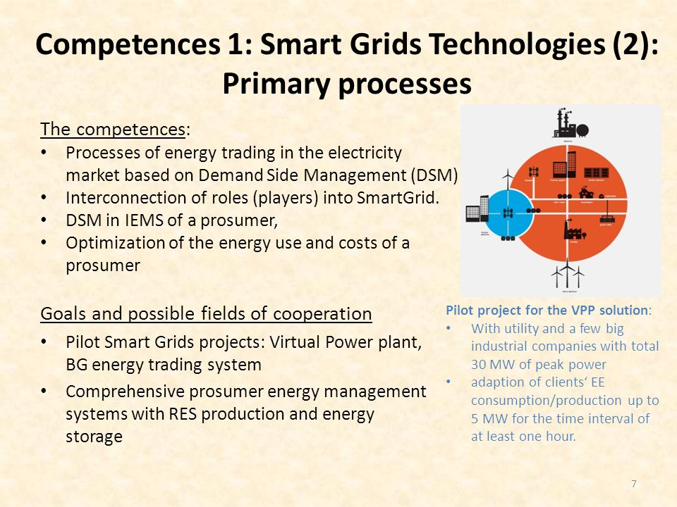 Competences 1: Smart Grids Technologies (2): Primary processes The competences: Processes of energy trading in the electricity market based on Demand Side Management (DSM) Interconnection of roles (players) into SmartGrid.