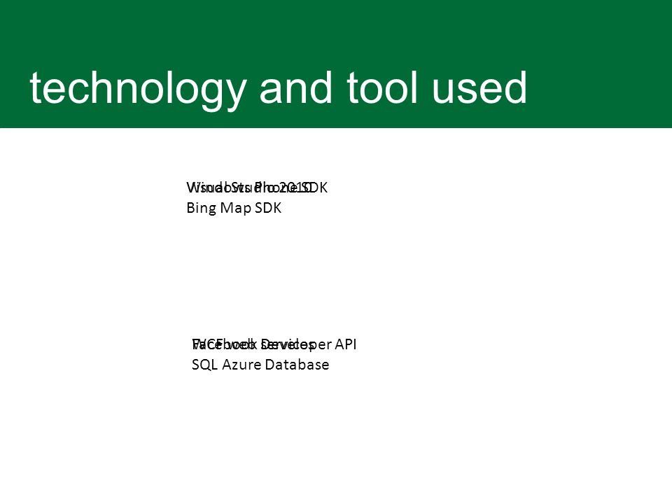 technology and tool used Windows Phone SDK Bing Map SDK WCF web services SQL Azure Database Visual Studio 2010 Facebook Developer API