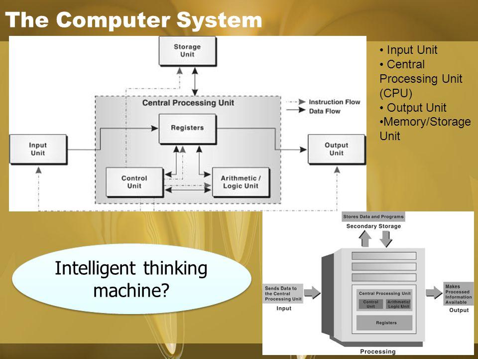 The Computer System Intelligent thinking machine? Input Unit Central Processing Unit (CPU) Output Unit Memory/Storage Unit