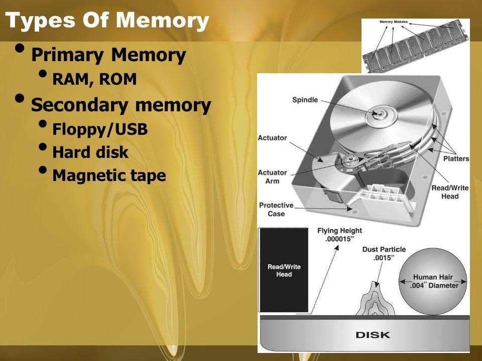 Types Of Memory Primary Memory RAM, ROM Secondary memory Floppy/USB Hard disk Magnetic tape