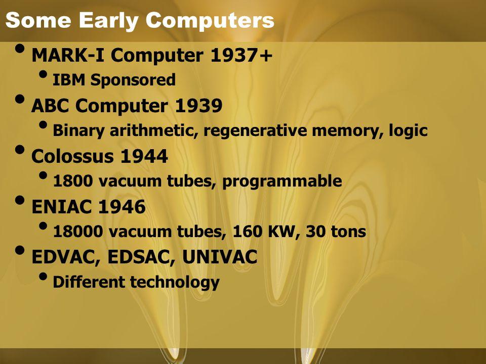 Some Early Computers MARK-I Computer 1937+ IBM Sponsored ABC Computer 1939 Binary arithmetic, regenerative memory, logic Colossus 1944 1800 vacuum tub