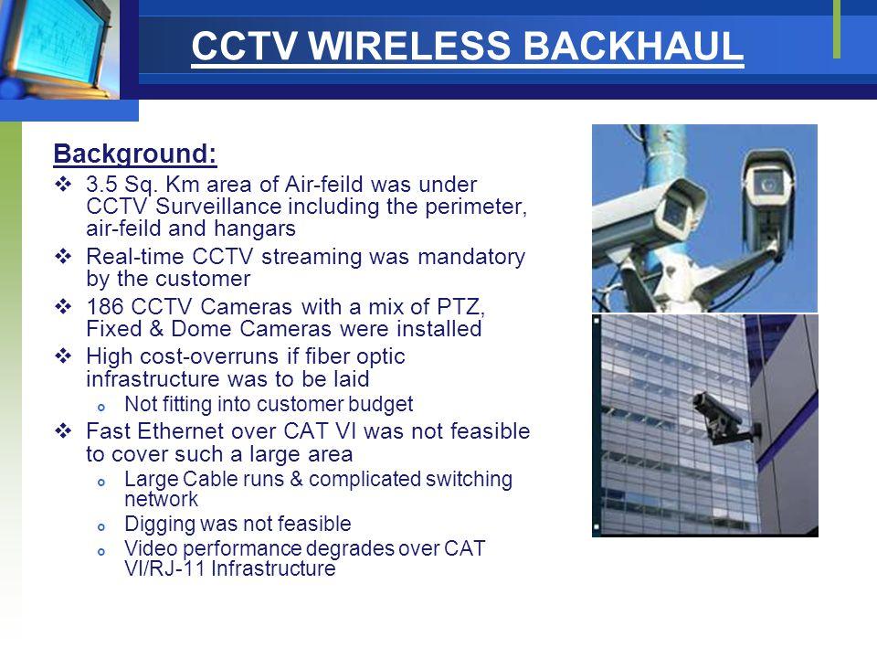 CCTV WIRELESS BACKHAUL Background:  3.5 Sq.