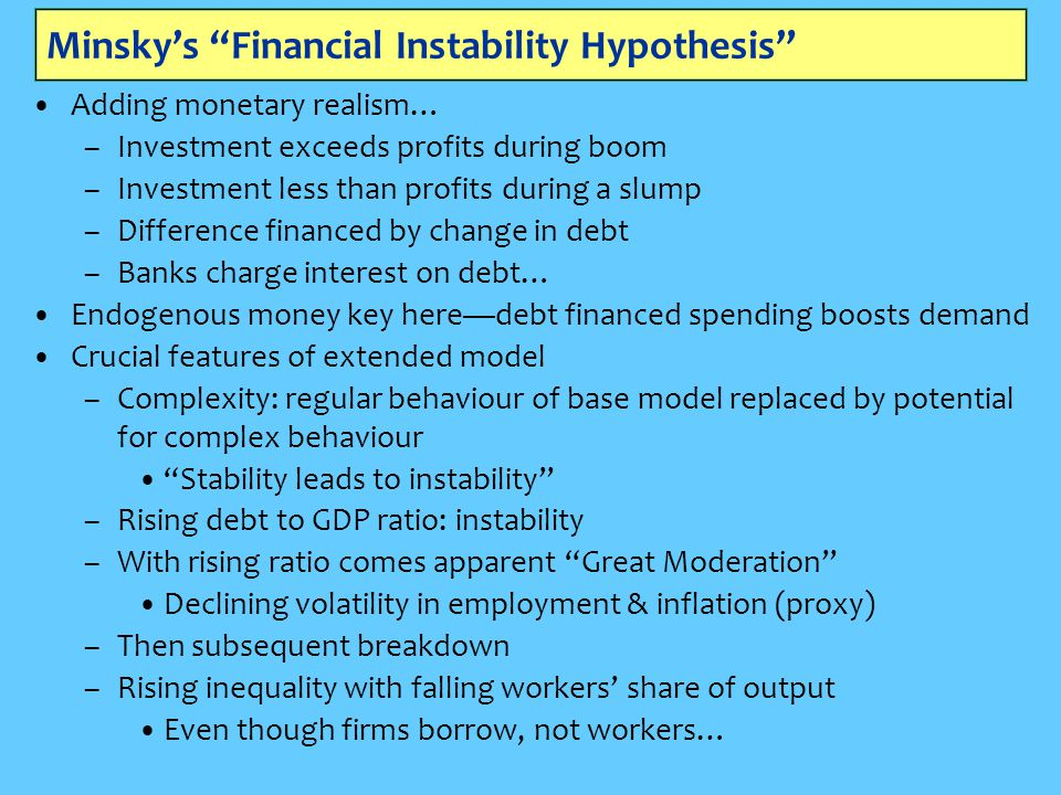 Minsky's Financial Instability Hypothesis Adding monetary realism… –Investment exceeds profits during boom –Investment less than profits during a slump –Difference financed by change in debt –Banks charge interest on debt… Endogenous money key here—debt financed spending boosts demand Crucial features of extended model –Complexity: regular behaviour of base model replaced by potential for complex behaviour Stability leads to instability –Rising debt to GDP ratio: instability –With rising ratio comes apparent Great Moderation Declining volatility in employment & inflation (proxy) –Then subsequent breakdown –Rising inequality with falling workers' share of output Even though firms borrow, not workers…