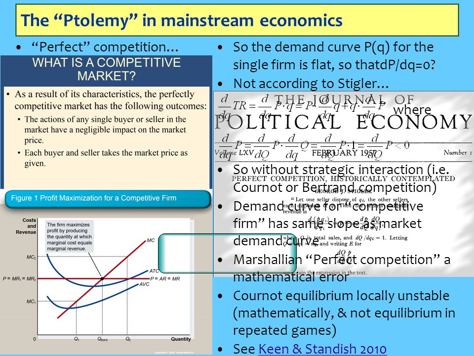 The Ptolemy in mainstream economics Perfect competition… So the demand curve P(q) for the single firm is flat, so thatdP/dq=0.