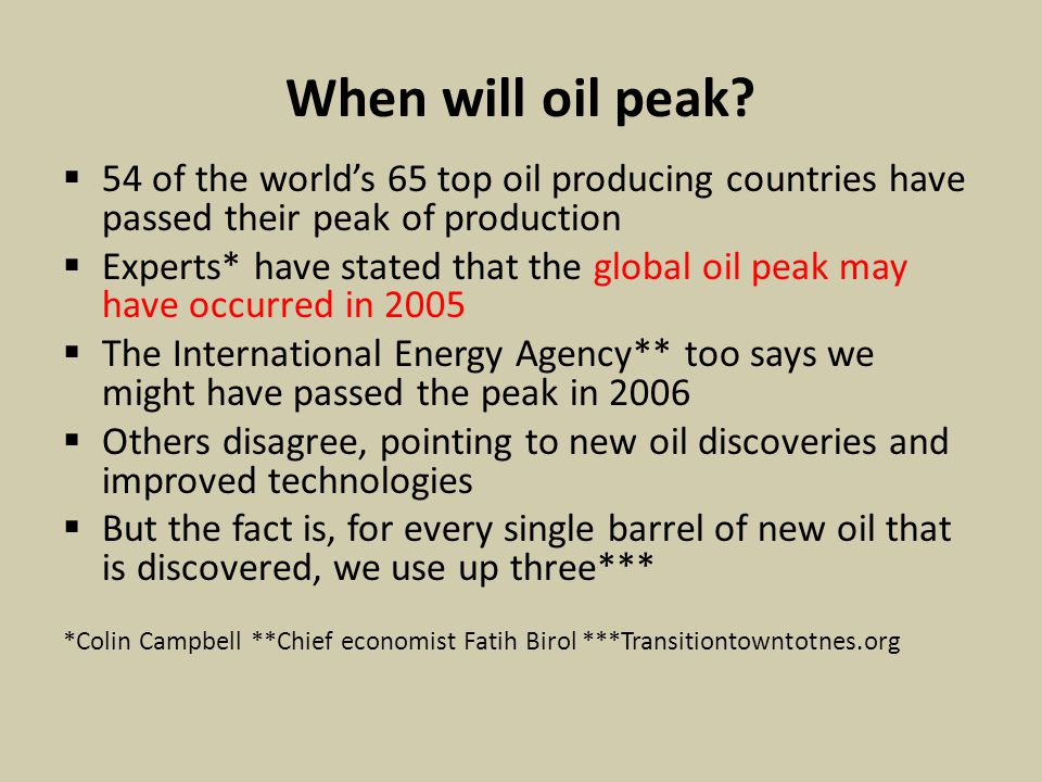 When will oil peak.