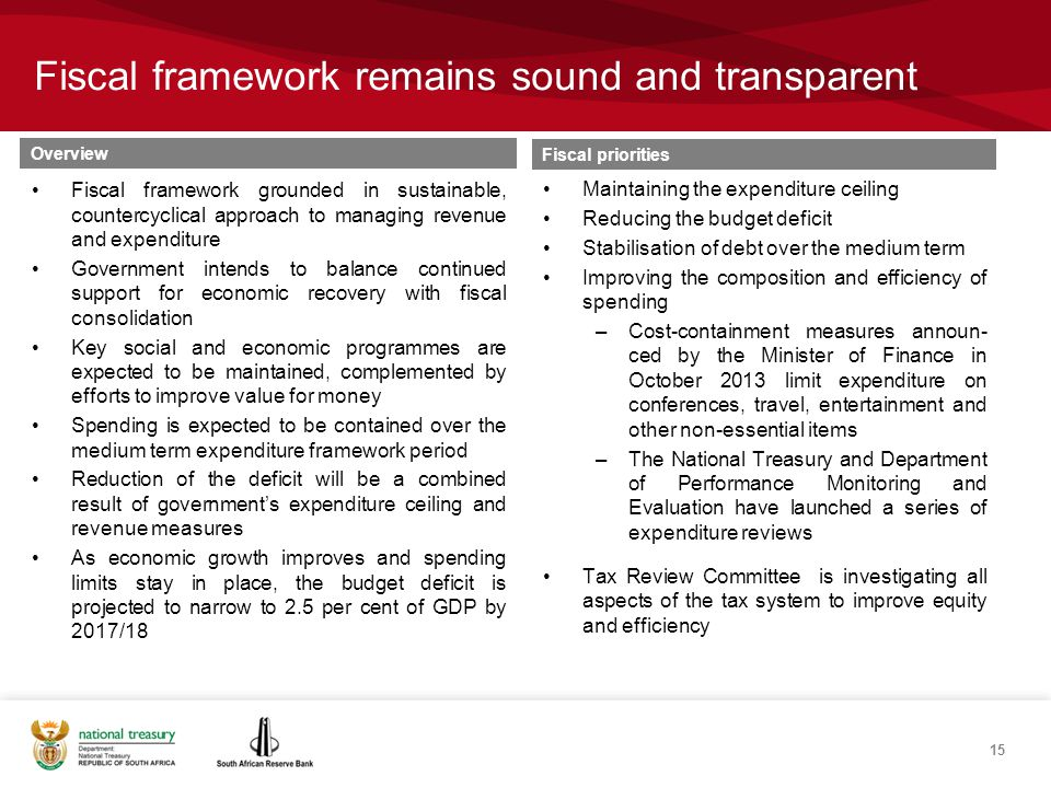 Fiscal framework remains sound and transparent Overview Fiscal framework grounded in sustainable, countercyclical approach to managing revenue and expenditure Government intends to balance continued support for economic recovery with fiscal consolidation Key social and economic programmes are expected to be maintained, complemented by efforts to improve value for money Spending is expected to be contained over the medium term expenditure framework period Reduction of the deficit will be a combined result of government's expenditure ceiling and revenue measures As economic growth improves and spending limits stay in place, the budget deficit is projected to narrow to 2.5 per cent of GDP by 2017/18 Fiscal priorities Maintaining the expenditure ceiling Reducing the budget deficit Stabilisation of debt over the medium term Improving the composition and efficiency of spending –Cost-containment measures announ- ced by the Minister of Finance in October 2013 limit expenditure on conferences, travel, entertainment and other non-essential items –The National Treasury and Department of Performance Monitoring and Evaluation have launched a series of expenditure reviews Tax Review Committee is investigating all aspects of the tax system to improve equity and efficiency 15