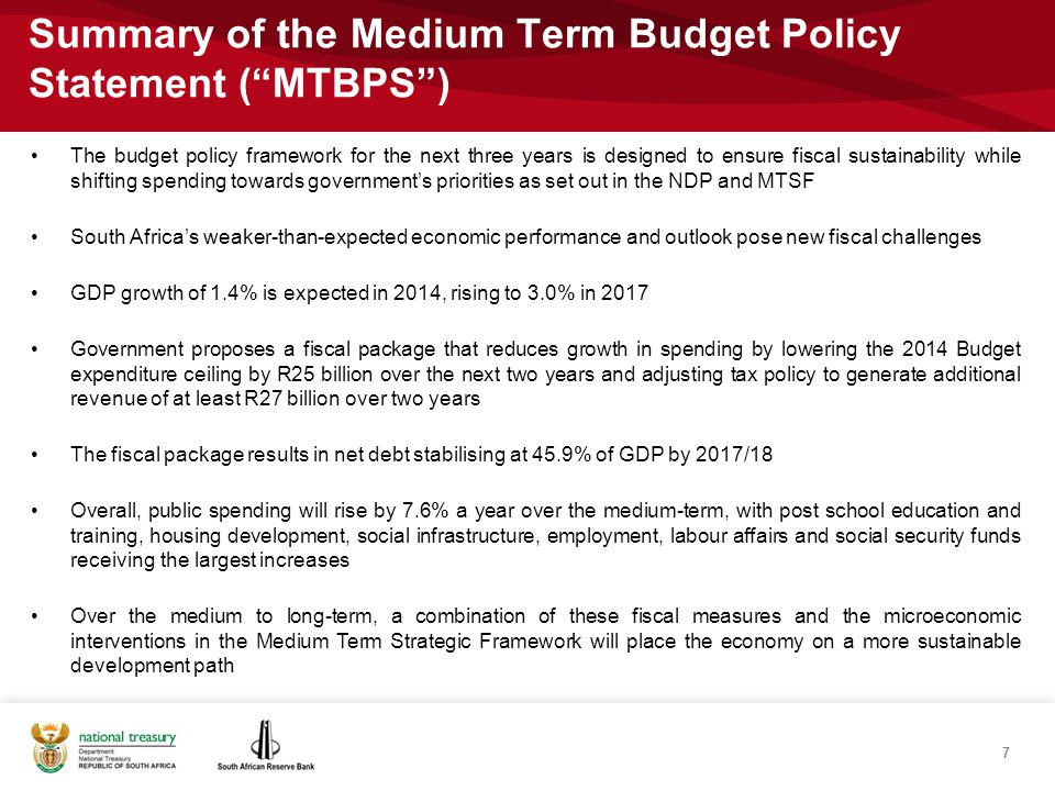 Spending continues to grow in real term, while reaching a primary balance within the current MTEF 18 Main budget non-interest spendingMain budget primary balance Source: National Treasury