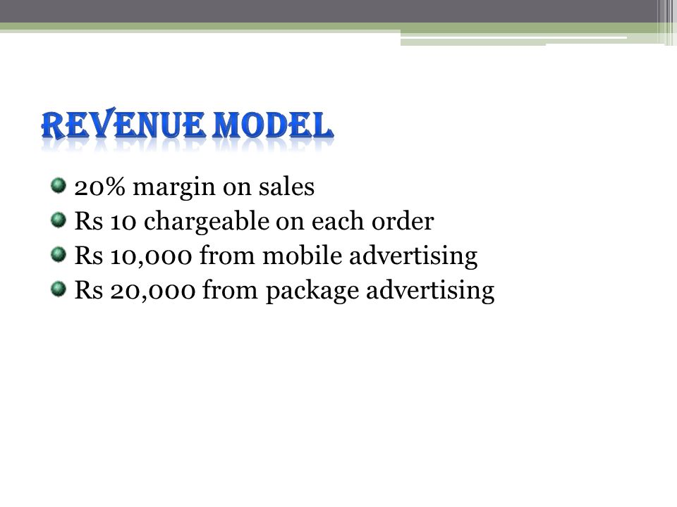 20% margin on sales Rs 10 chargeable on each order Rs 10,000 from mobile advertising Rs 20,000 from package advertising