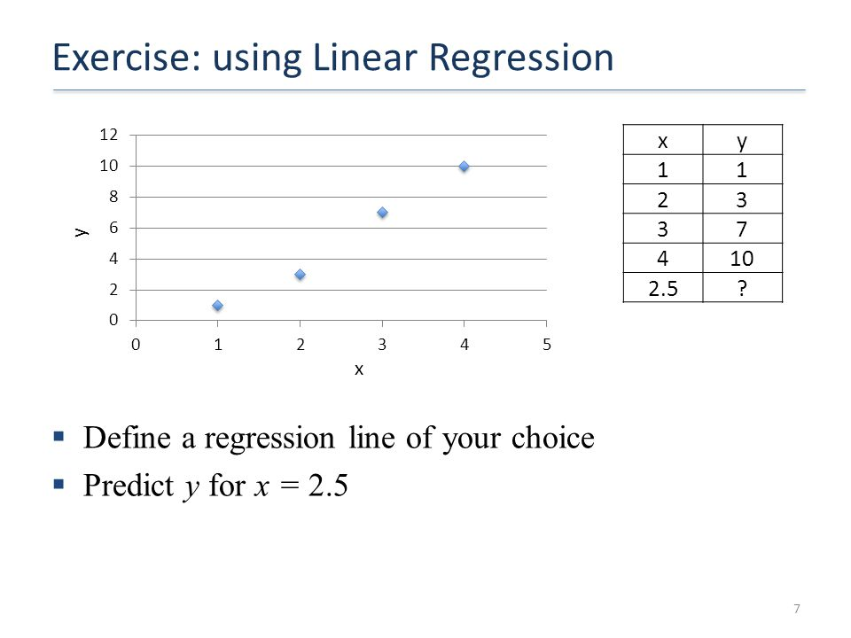 Exercise: using Linear Regression  Define a regression line of your choice  Predict y for x = 2.5 7 y x xy 11 23 37 410 2.5?