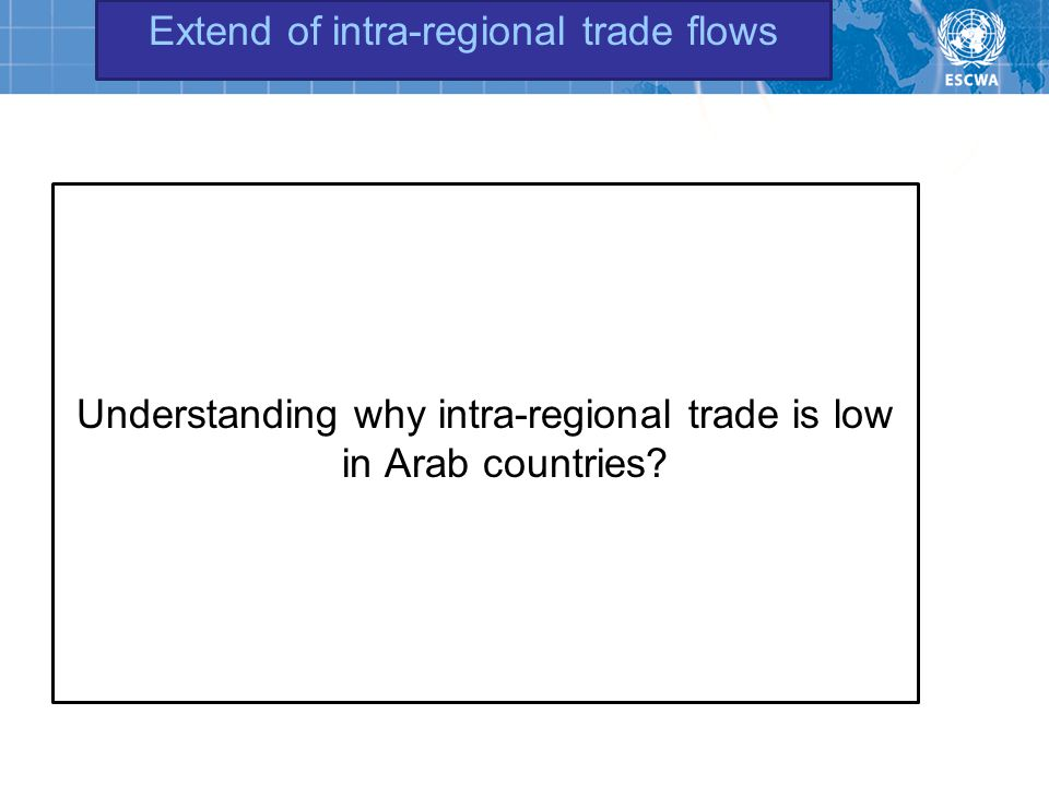 Extend of intra-regional trade flows Understanding why intra-regional trade is low in Arab countries