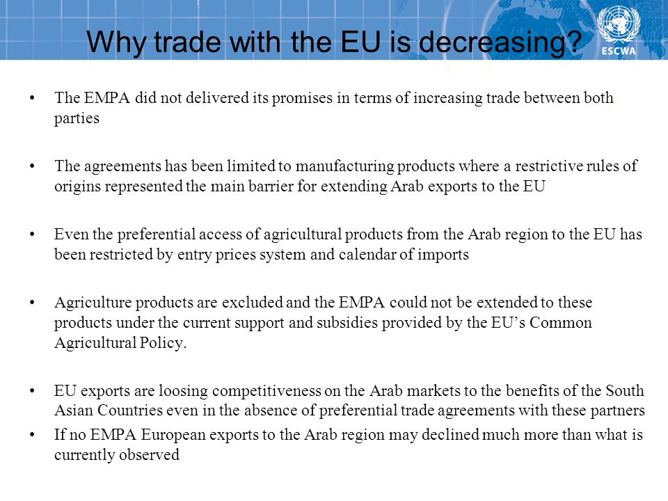 Why trade with the EU is decreasing.