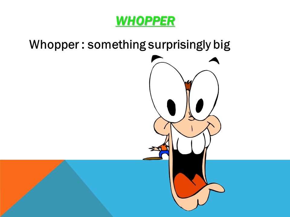 WHOPPER Whopper : something surprisingly big