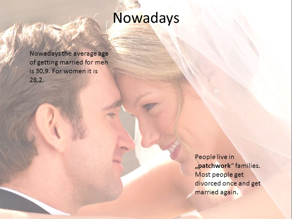 Nowadays Nowadays the average age of getting married for men is 30,9.