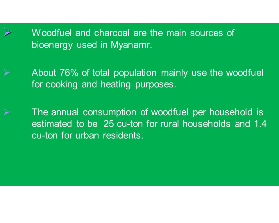   Woodfuel and charcoal are the main sources of bioenergy used in Myanamr.   About 76% of total population mainly use the woodfuel for cooking and