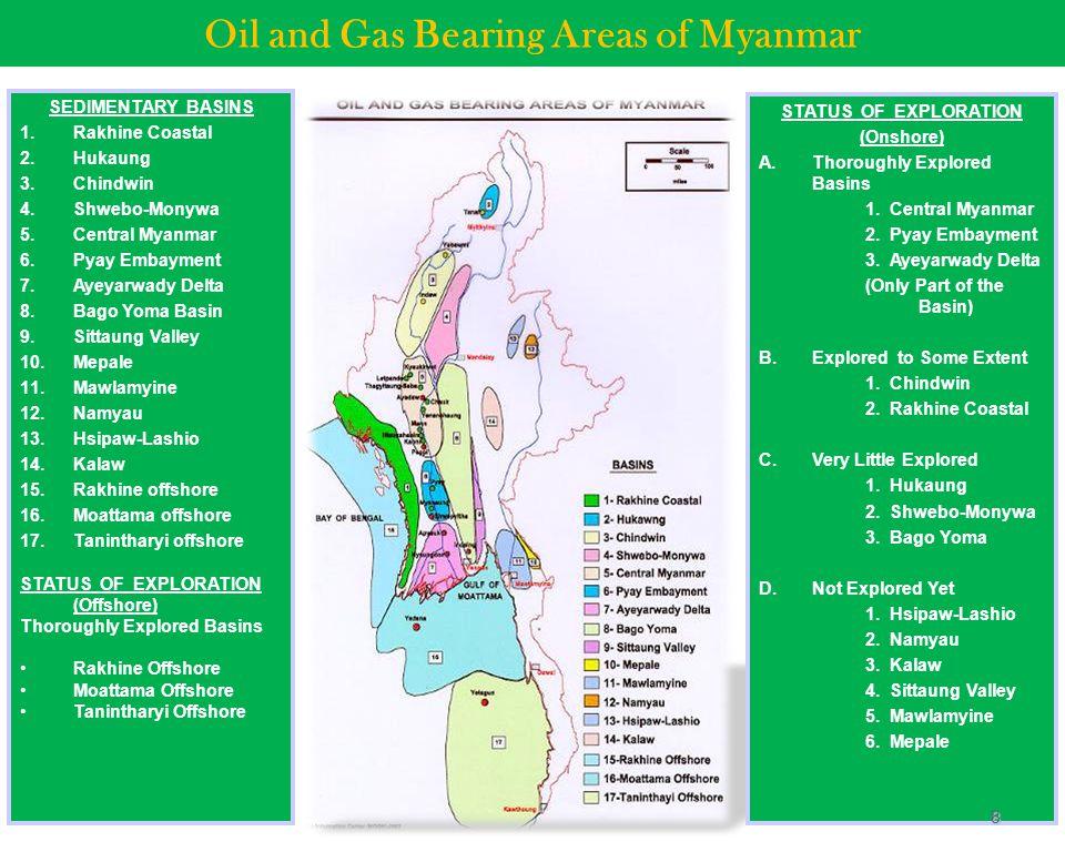 Oil and Gas Bearing Areas of Myanmar SEDIMENTARY BASINS 1.Rakhine Coastal 2.Hukaung 3.Chindwin 4.Shwebo-Monywa 5.Central Myanmar 6.Pyay Embayment 7.Ay
