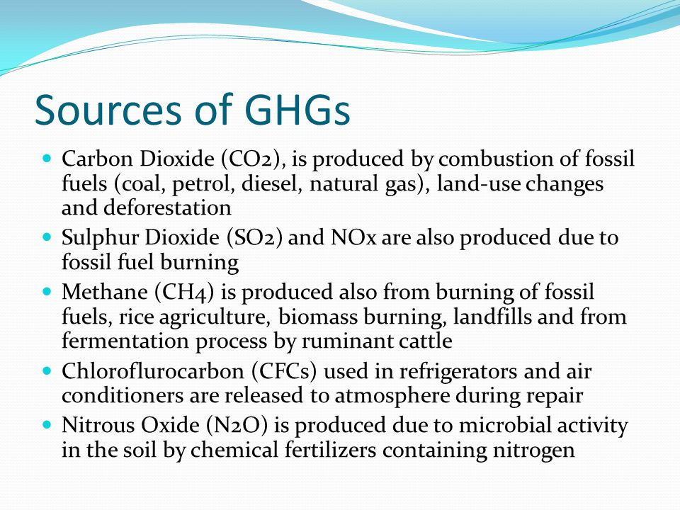 Sources of GHGs Carbon Dioxide (CO2), is produced by combustion of fossil fuels (coal, petrol, diesel, natural gas), land-use changes and deforestation Sulphur Dioxide (SO2) and NOx are also produced due to fossil fuel burning Methane (CH4) is produced also from burning of fossil fuels, rice agriculture, biomass burning, landfills and from fermentation process by ruminant cattle Chloroflurocarbon (CFCs) used in refrigerators and air conditioners are released to atmosphere during repair Nitrous Oxide (N2O) is produced due to microbial activity in the soil by chemical fertilizers containing nitrogen