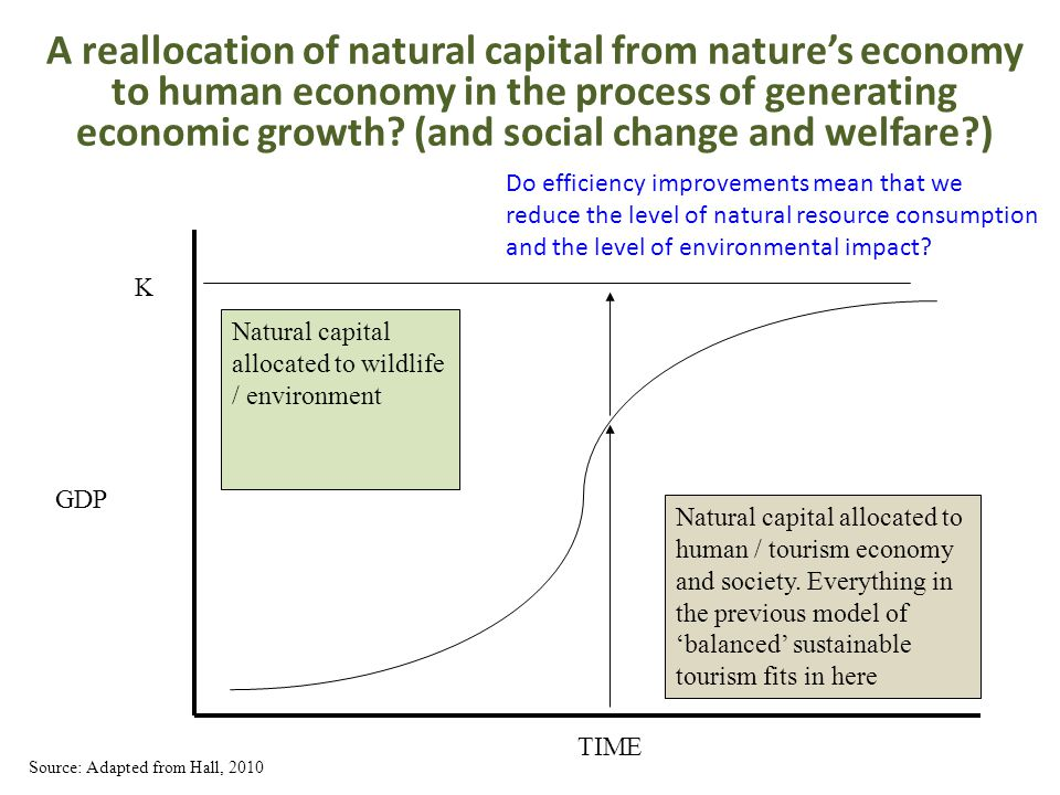A reallocation of natural capital from nature's economy to human economy in the process of generating economic growth? (and social change and welfare?
