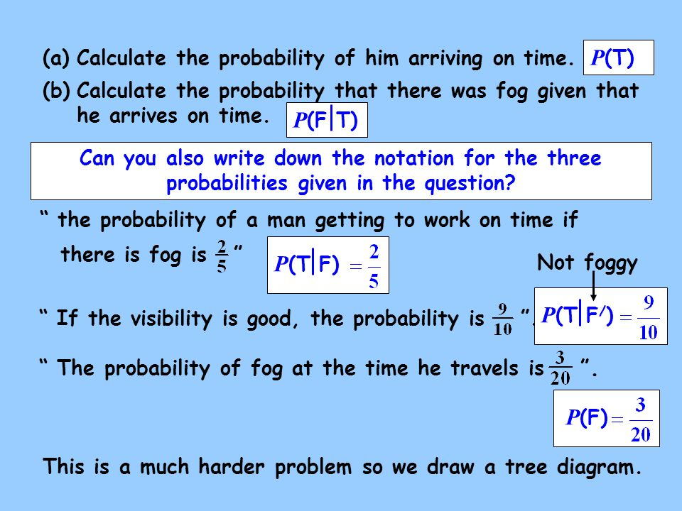 the probability of a man getting to work on time if there is fog is If the visibility is good, the probability is .