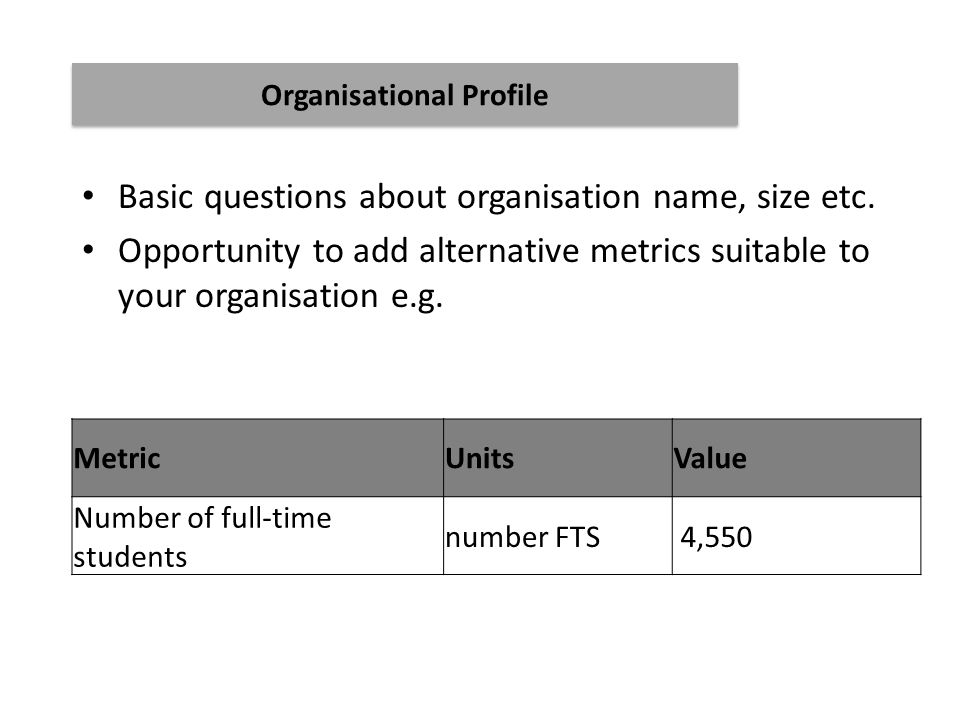 Basic questions about organisation name, size etc.