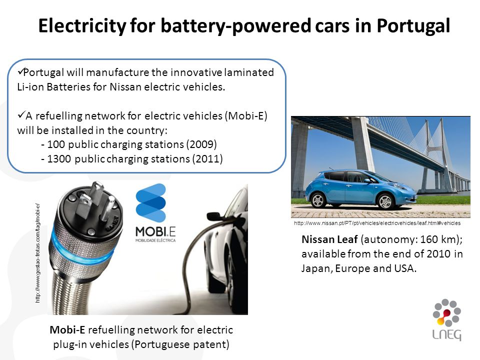 Nissan Leaf (autonomy: 160 km); available from the end of 2010 in Japan, Europe and USA. Mobi-E refuelling network for electric plug-in vehicles (Port