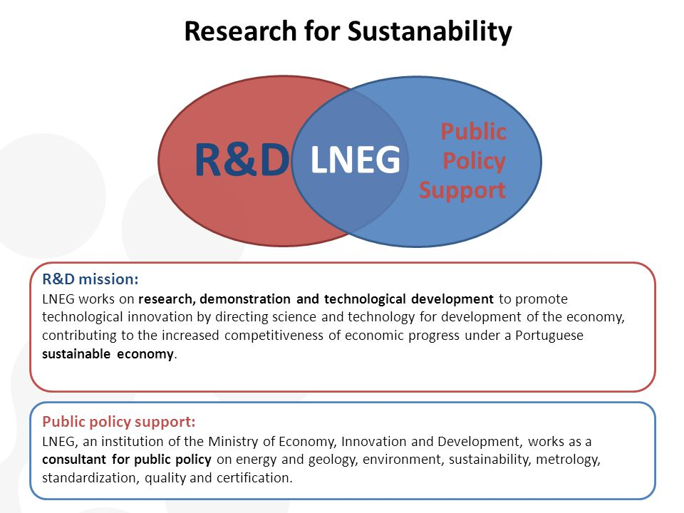 R&D Public Policy Support LNEG R&D mission: LNEG works on research, demonstration and technological development to promote technological innovation by directing science and technology for development of the economy, contributing to the increased competitiveness of economic progress under a Portuguese sustainable economy.
