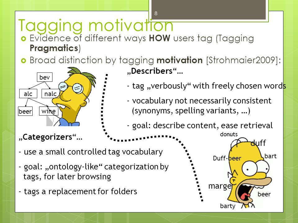 "bev alcnalc beer wine Tagging motivation  Evidence of different ways HOW users tag (Tagging Pragmatics )  Broad distinction by tagging motivation [Strohmaier2009]: donuts duff marge beer bart barty Duff-beer ""Categorizers … - use a small controlled tag vocabulary - goal: ""ontology-like categorization by tags, for later browsing - tags a replacement for folders ""Describers … - tag ""verbously with freely chosen words - vocabulary not necessarily consistent (synonyms, spelling variants, …) - goal: describe content, ease retrieval 8"