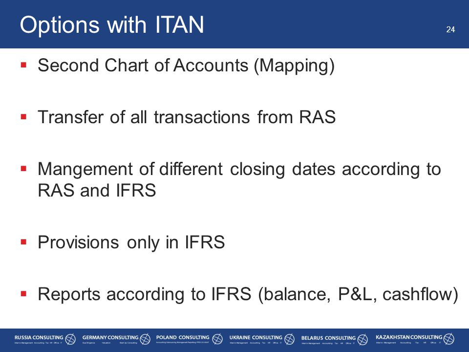  Second Chart of Accounts (Mapping)  Transfer of all transactions from RAS  Mangement of different closing dates according to RAS and IFRS  Provisions only in IFRS  Reports according to IFRS (balance, P&L, cashflow) Options with ITAN 24